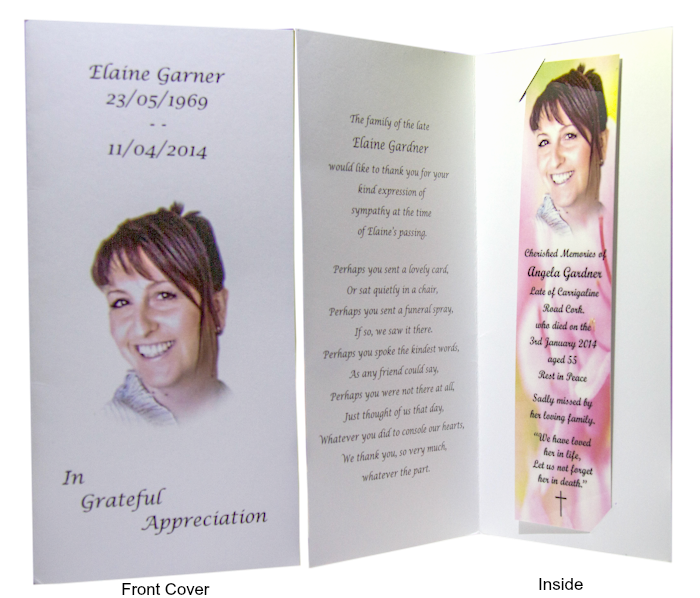 Memorial Cards Cork | Memorial Bookmarks